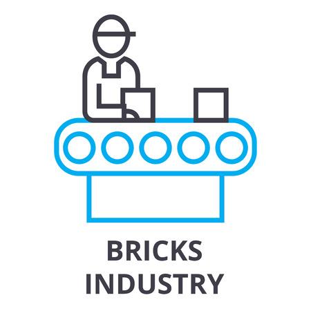 bricks industry thin line icon, sign, symbol, illustation, linear concept vector Illustration