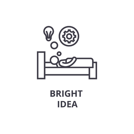bright idea in bed thin line icon, sign, symbol, illustation, linear concept vector Foto de archivo - 100200237