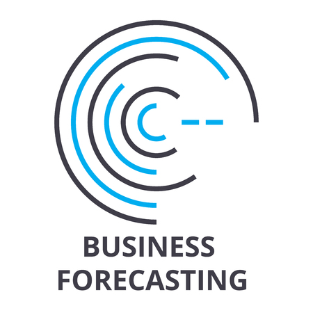 Business forecasting thin line icon, sign, symbol, illustration, linear concept vector.