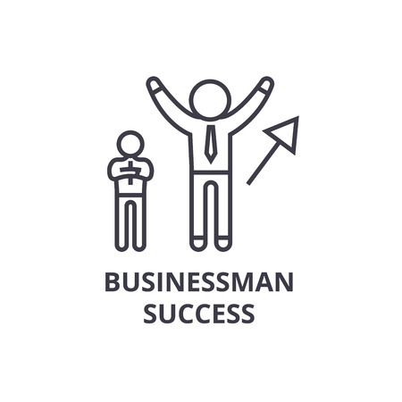 Businessman success thin line icon, sign, symbol, illustration, linear concept vector.