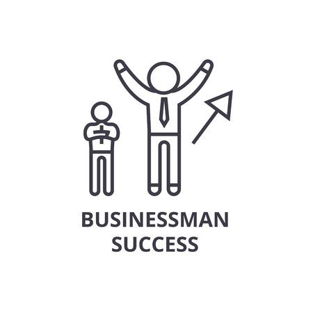 Businessman success thin line icon, sign, symbol, illustration, linear concept vector.
