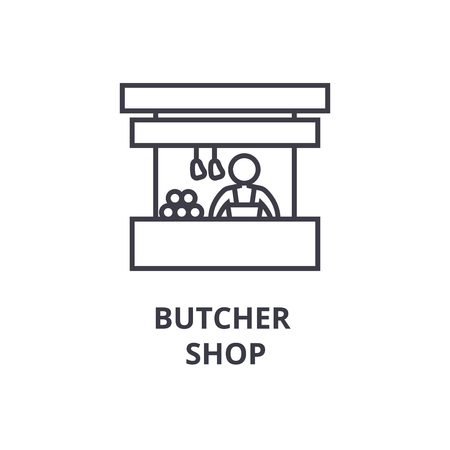 Butcher shop thin line icon, sign, symbol, illustration, linear concept vector.