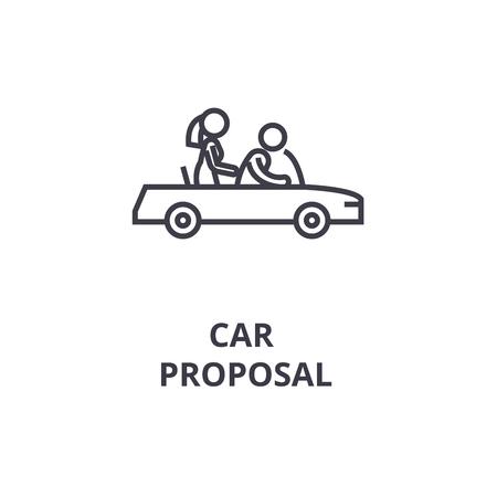 car proposal thin line icon, sign, symbol, illustation, linear concept vector