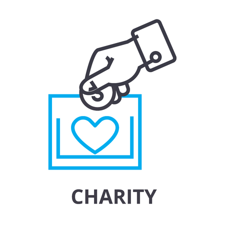 charity thin line icon, sign, symbol, illustation, linear concept vector