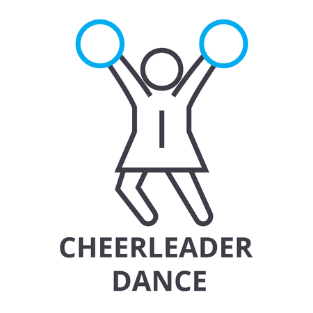 cheerleader dance thin line icon, sign, symbol, illustation, linear concept vector Illustration