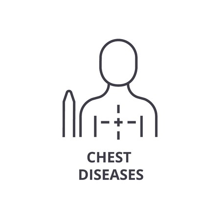 Chest diseases thin line icon, sign, symbol, illustration, linear concept vector. Ilustrace