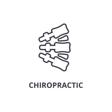 Chiropractic thin line icon, sign, symbol, illustration, linear concept vector.