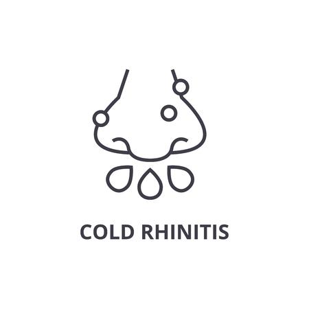 cold rhinitis thin line icon, sign, symbol, illustation, linear concept vector
