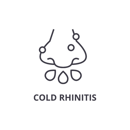 cold rhinitis thin line icon, sign, symbol, illustation, linear concept vector