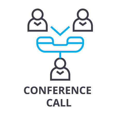 conference call thin line icon, sign, symbol, illustation, linear concept vector
