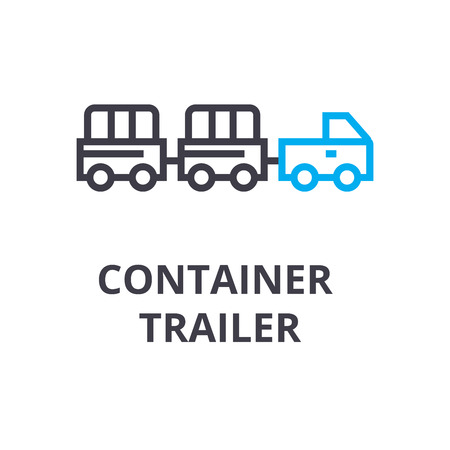 Container trailer thin line icon, sign, symbol, illustration, linear concept vector. Illustration
