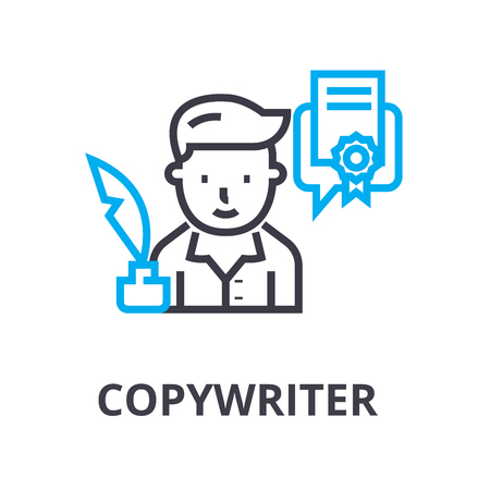 copywriter thin line icon, sign, symbol, illustation, linear concept vector