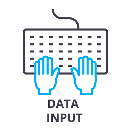 Data input thin line icon, sign, symbol, illustration, linear concept vector.