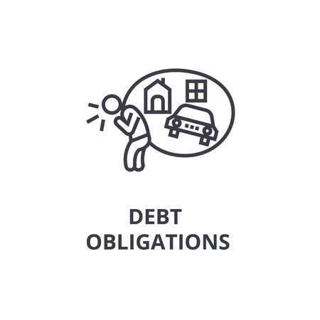 debt obligations thin line icon, sign, symbol, illustation, linear concept vector