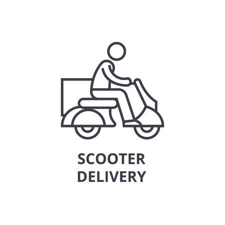 delivery scooter thin line icon, sign, symbol, illustation, linear concept vector