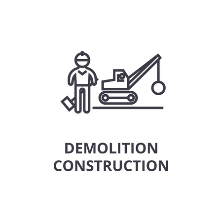 demolition construction thin line icon, sign, symbol, illustation, linear concept vector