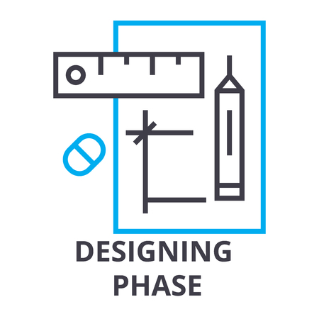 Designing phase thin line icon, sign, symbol, illustration, linear concept vector. Ilustracja
