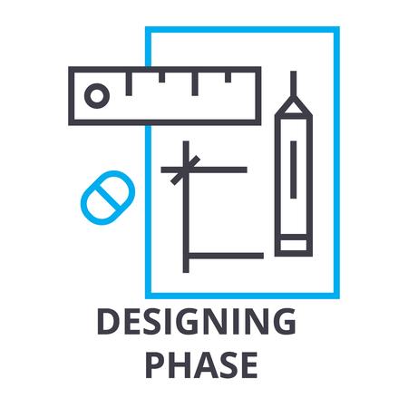 Designing phase thin line icon, sign, symbol, illustration, linear concept vector. Illustration