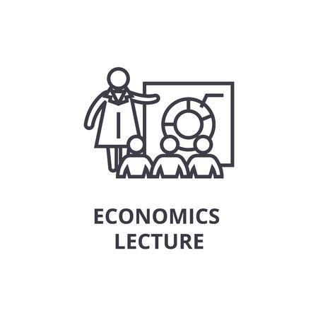 economics lecture thin line icon, sign, symbol, illustation, linear concept vector Çizim