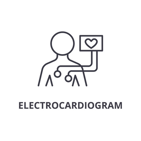 electrocardiogram thin line icon, sign, symbol, illustation, linear concept vector Banque d'images - 100200388
