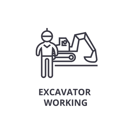 Excavator working thin line icon, sign, symbol, illustration, linear concept vector.