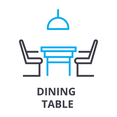 Dining table with chairs thin line icon. Ilustracja