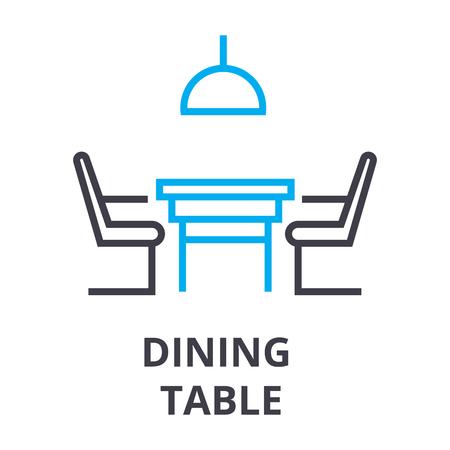 Mesa de comedor con sillas icono de línea fina.