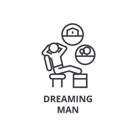 Dreaming man on a chair thin line icon.