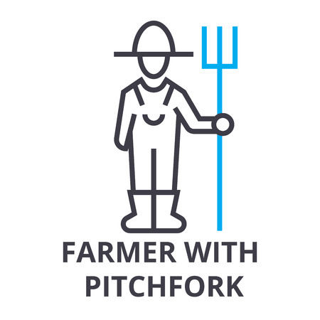 Farmer with pitchfork thin line icon Иллюстрация