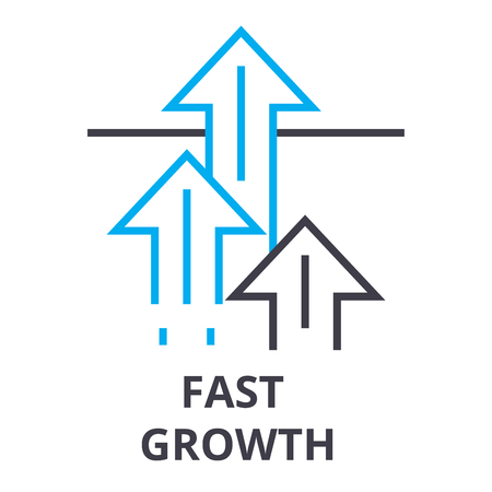 Fast growth thin line icon with arrows. Vectores