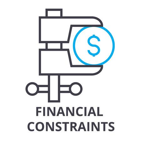 financial constraints thin line icon, sign, symbol, illustation, linear concept vector Reklamní fotografie - 100104310