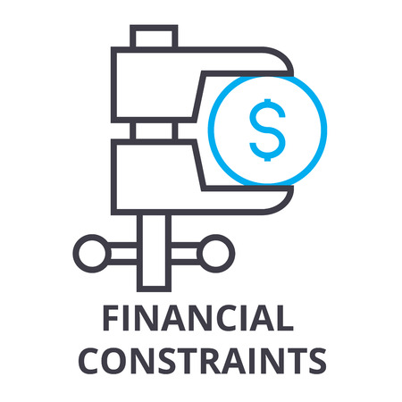 financial constraints thin line icon, sign, symbol, illustation, linear concept vector