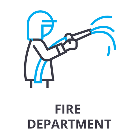 fire department thin line icon, sign, symbol, illustation, linear concept vector   イラスト・ベクター素材