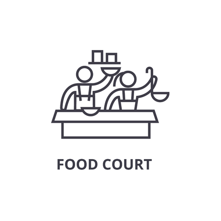 food court thin line icon, sign, symbol, illustation, linear concept vector