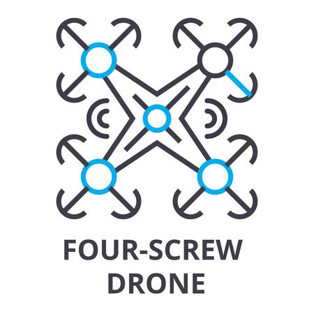 four screw drone thin line icon, sign, symbol, illustation, linear concept vector