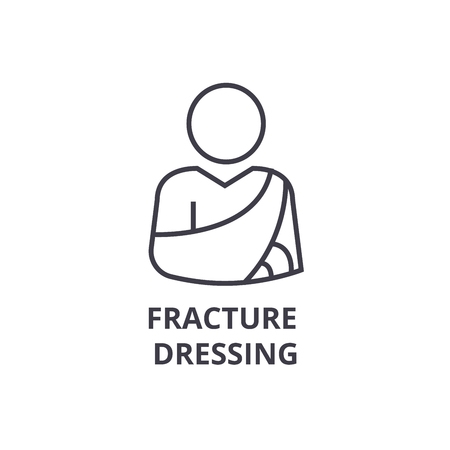 fracture dressing thin line icon, sign, symbol, illustation, linear concept vector