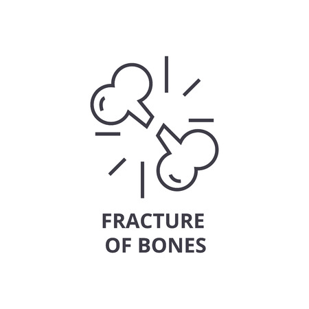 fracture of bones thin line icon, sign, symbol, illustation, linear concept vector  Ilustrace