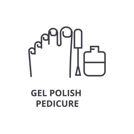 gel polish pedicure thin line icon, sign, symbol, illustation, linear concept vector  Ilustração