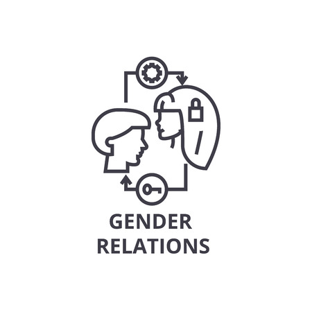 gender relations thin line icon, sign, symbol, illustation, linear concept vector