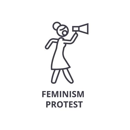 Feminism protest thin line icon 向量圖像