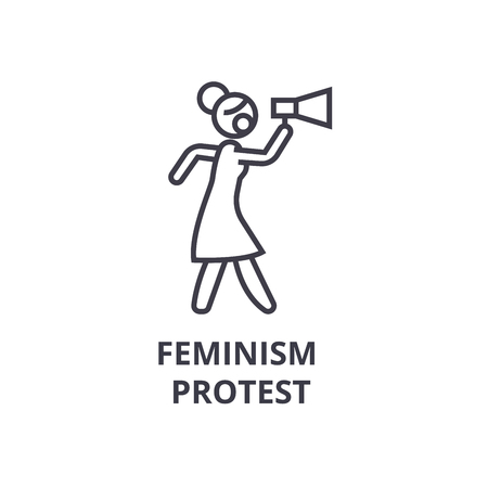 Feminism protest thin line icon Illustration