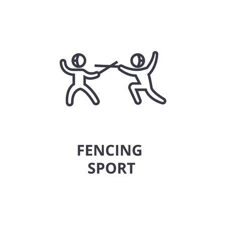 Fencing sport thin line icon