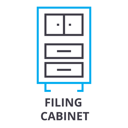 Filing cabinet thin line icon