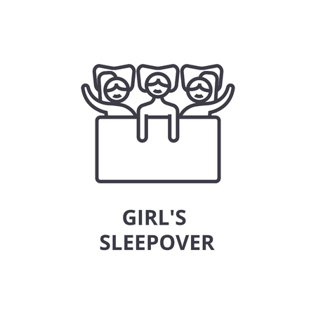 Girls sleepover thin line icon