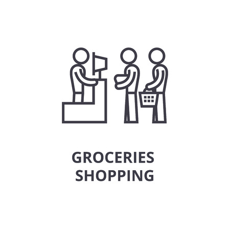 Groceries shopping thin line icon  イラスト・ベクター素材