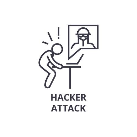 Hacker attack thin line icon