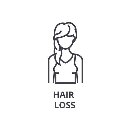 Hair loss thin line icon