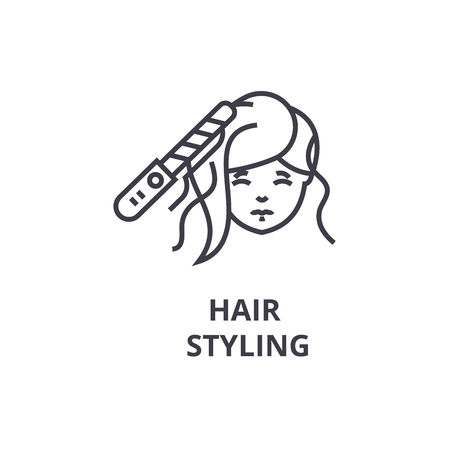Hair styling thin line icon
