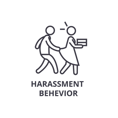 harassment behevior thin line icon, sign, symbol, illustation, linear concept vector