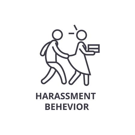 icona linea sottile comportamento molestie, segno, simbolo, illustation, vettore concetto lineare